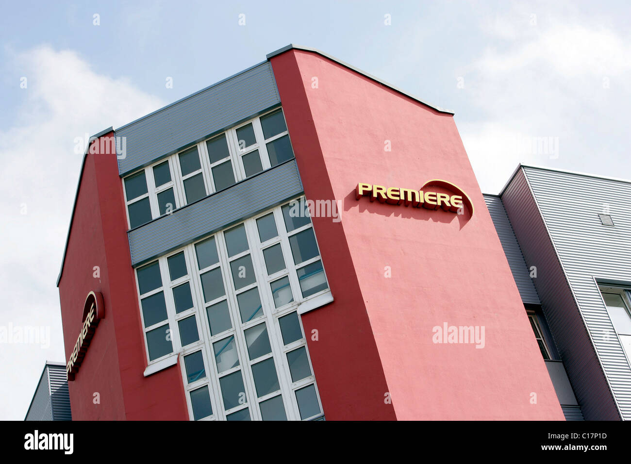 Premiere World Company Headquarters on Medienallee Street in Unterfoehring near Munich, Bavaria, Germany, Europe - Stock Image