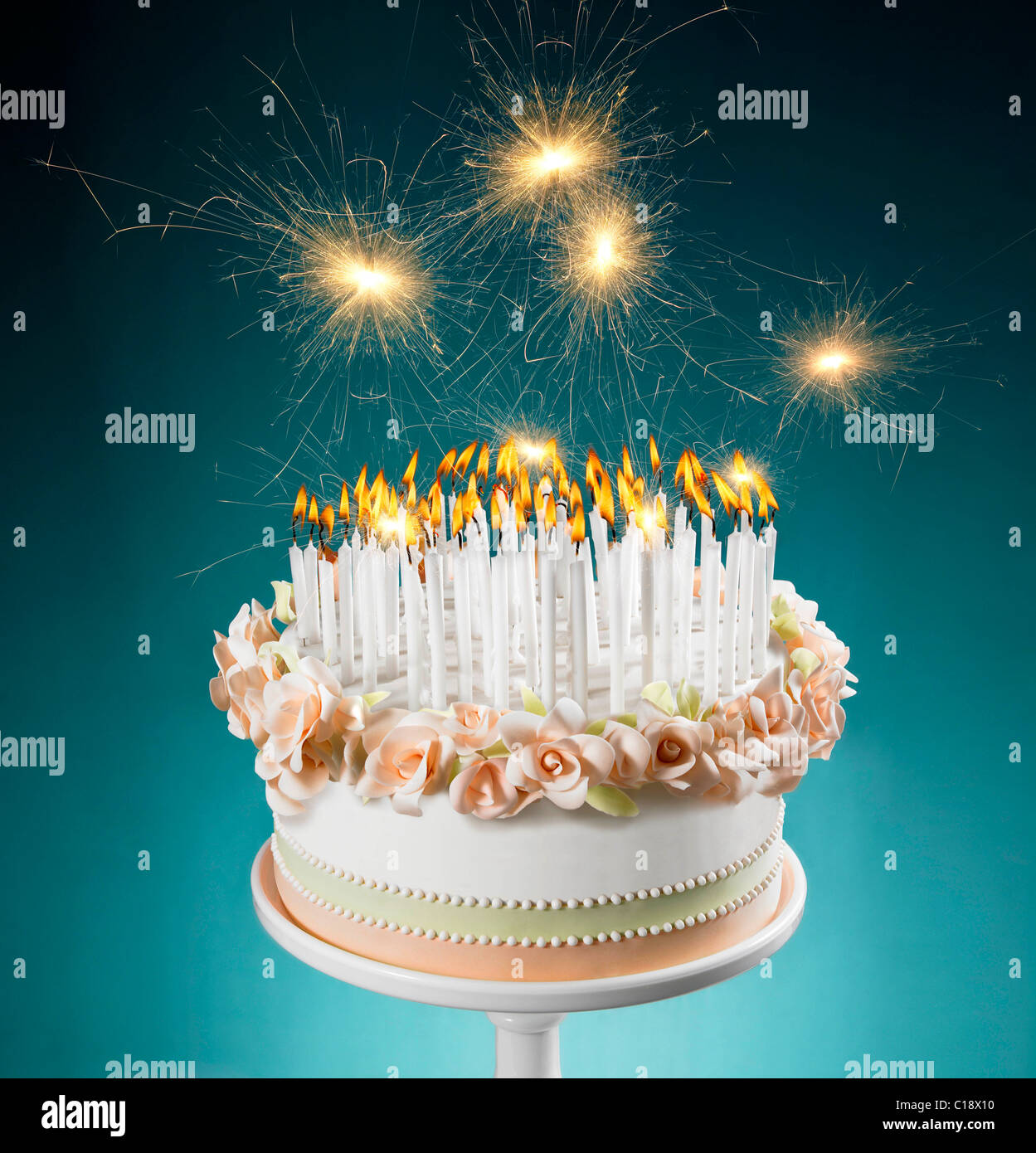 Birthday Cake With Lots Of Burning Candles