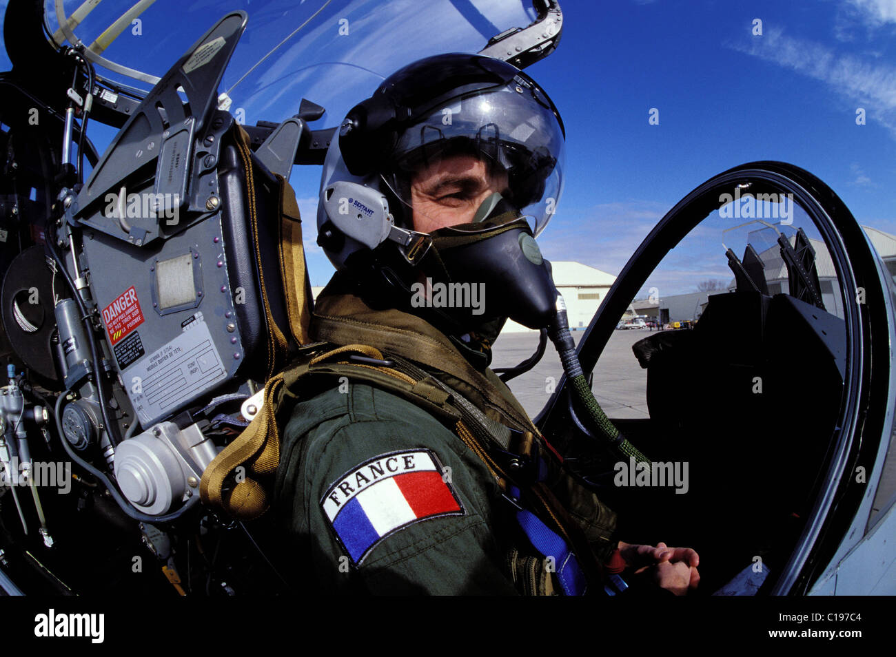 France Bouches du Rhone test pilots new fight helmet topsight® extand avionique (Mirage 2OOO) on the Air Force Army Stock Photo