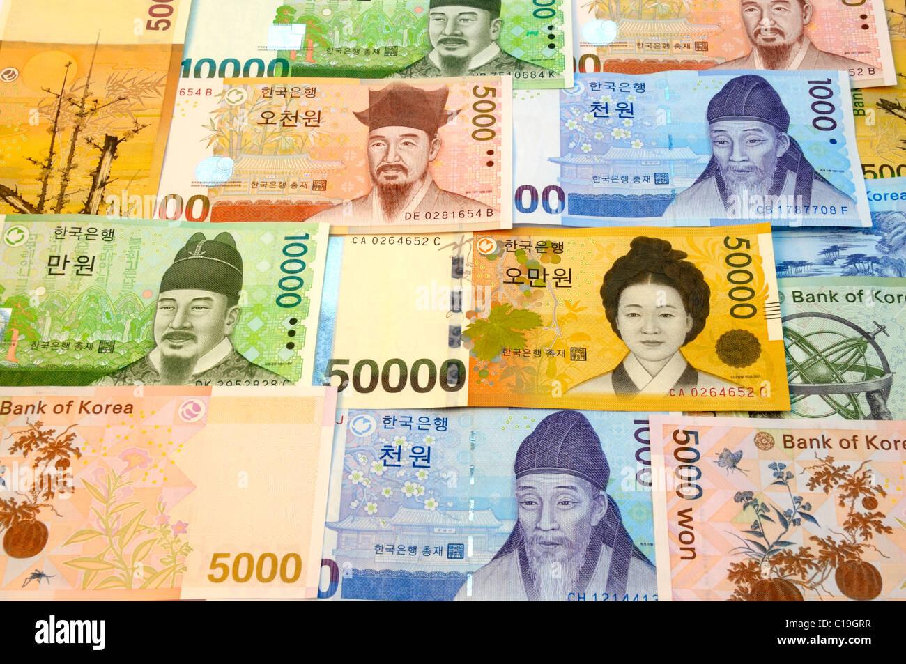 South Korea Won Bank Notes. - Stock Image