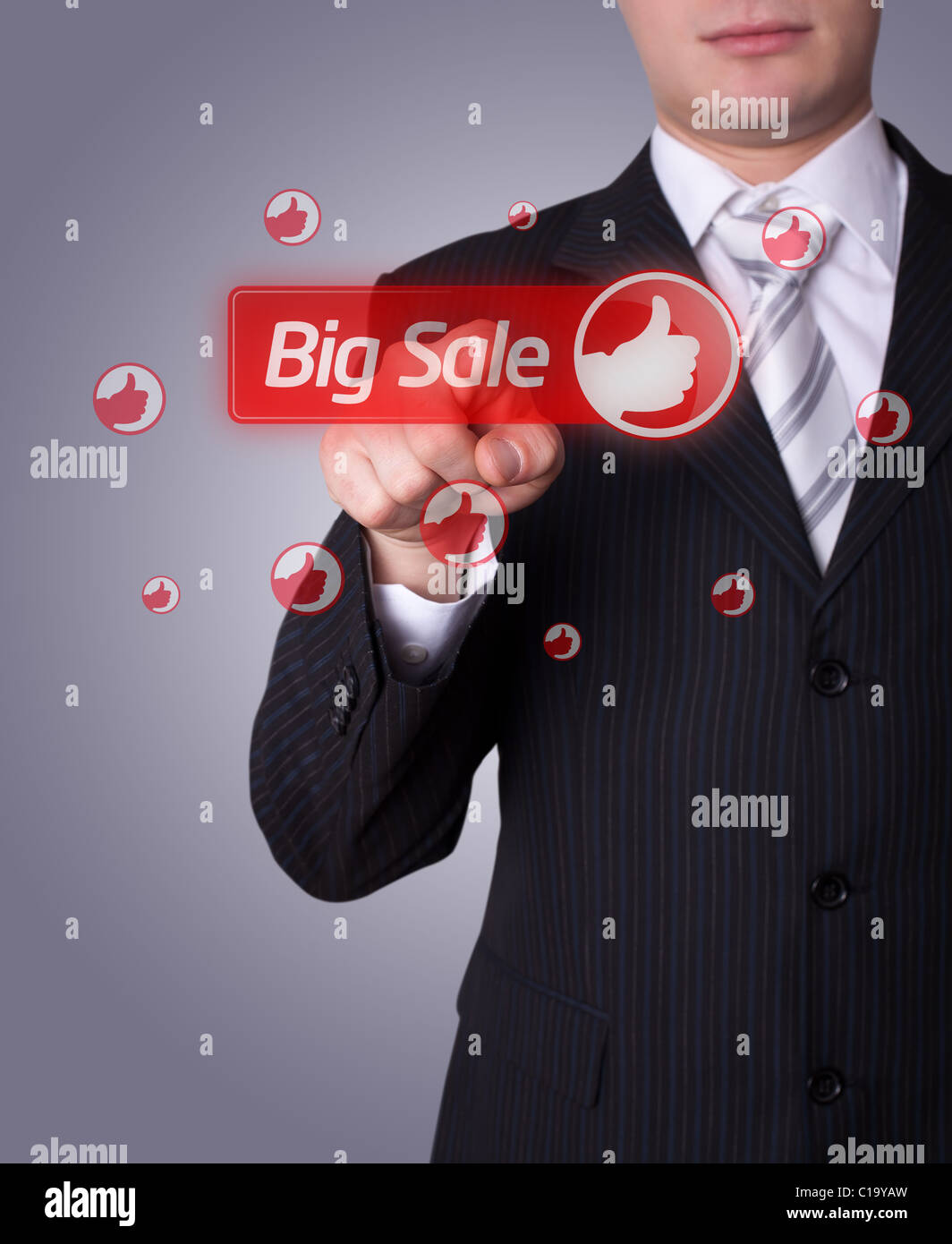 Man hand pressing BIG SALE button - Stock Image