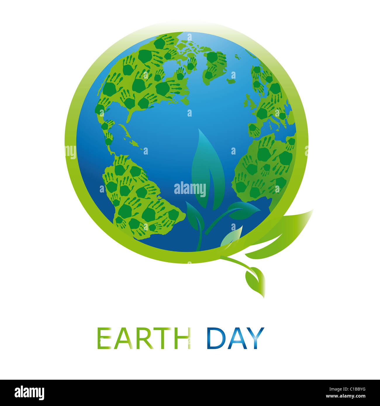 Planet symbol on Earth Day - Stock Image