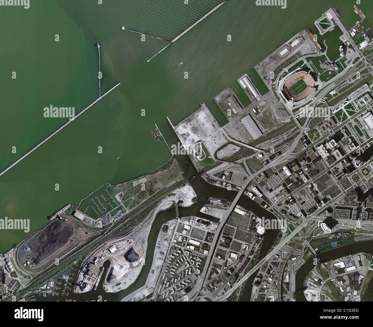 aerial map view above Port of Cleveland mouth of Cuyahoga river Ohio - Stock Image