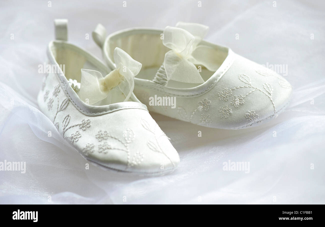 Ivory Bridesmaid Flower Girl Shoes On White Tulle With Tulle Bows