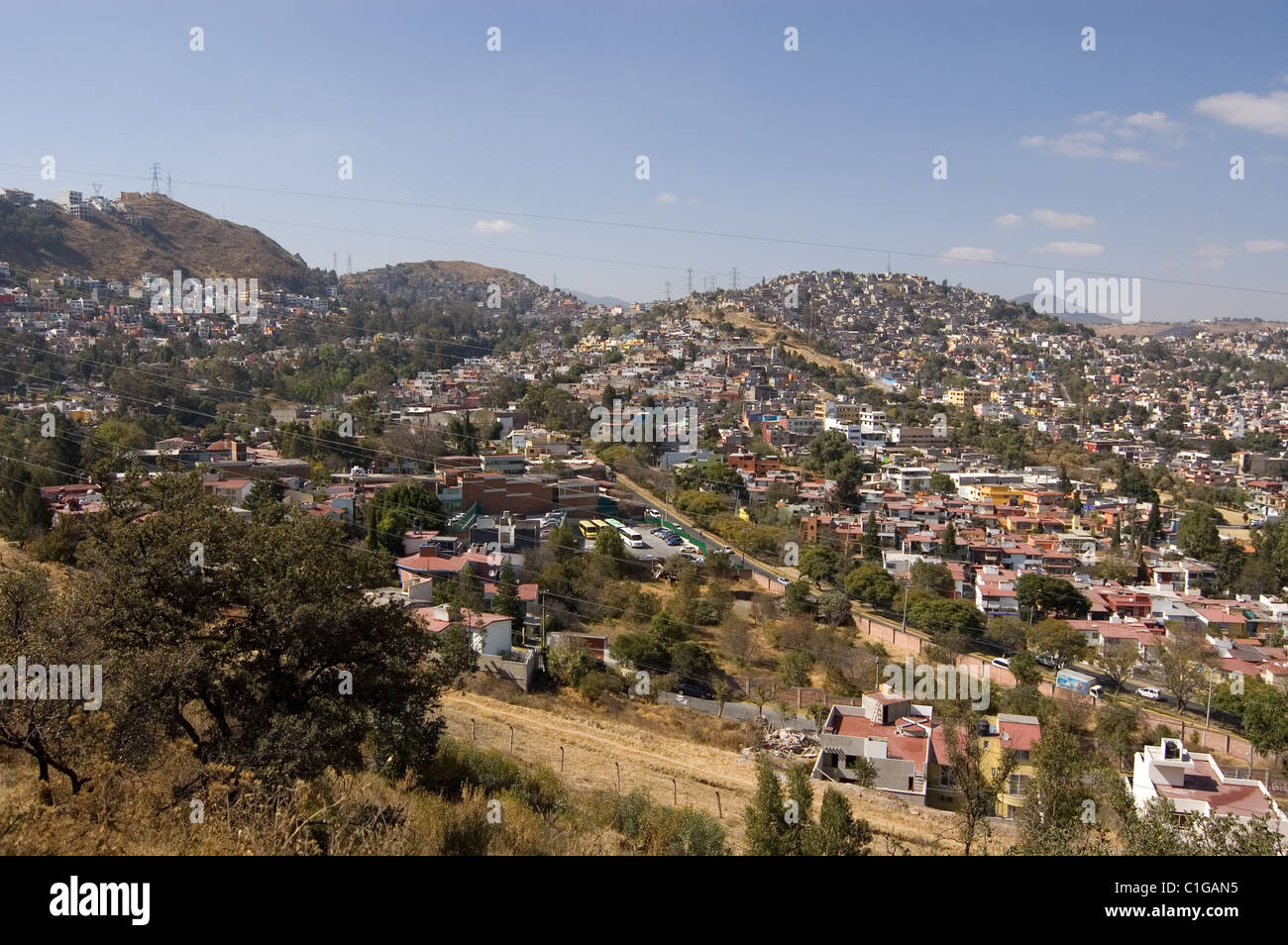 View of Mexico city metropolitan area from a hill - Stock Image