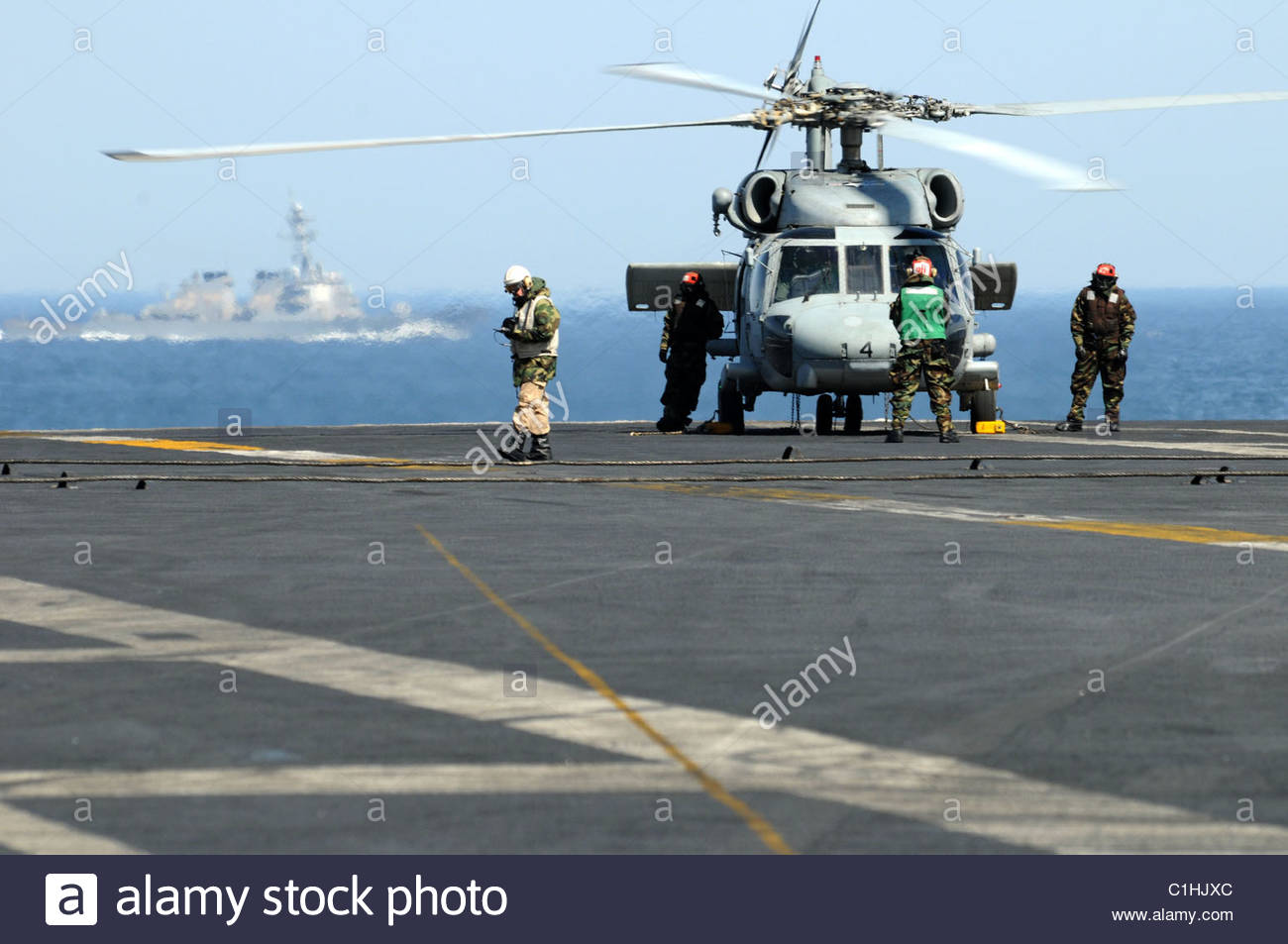 2011 March - US NAVY - Libya - SH-60F Sea Hawk helicopter assigned to the Black Knights of Helicopter Anti-Submarine - Stock Image