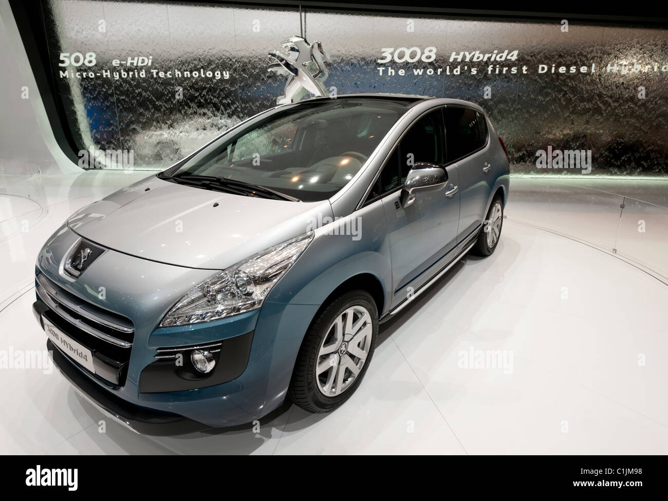 Peugeot 3008 concept world's first Hybrid diesel concept car at the Geneva Motor Show 2011 Switzerland - Stock Image