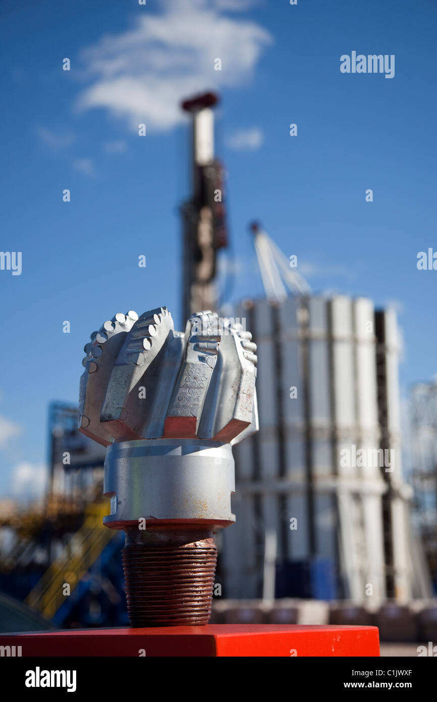 Cuadrilla Resources new USA Drill Bit made of tungsten carbide and synthetic diamonds. Drilling equipment at Shale - Stock Image