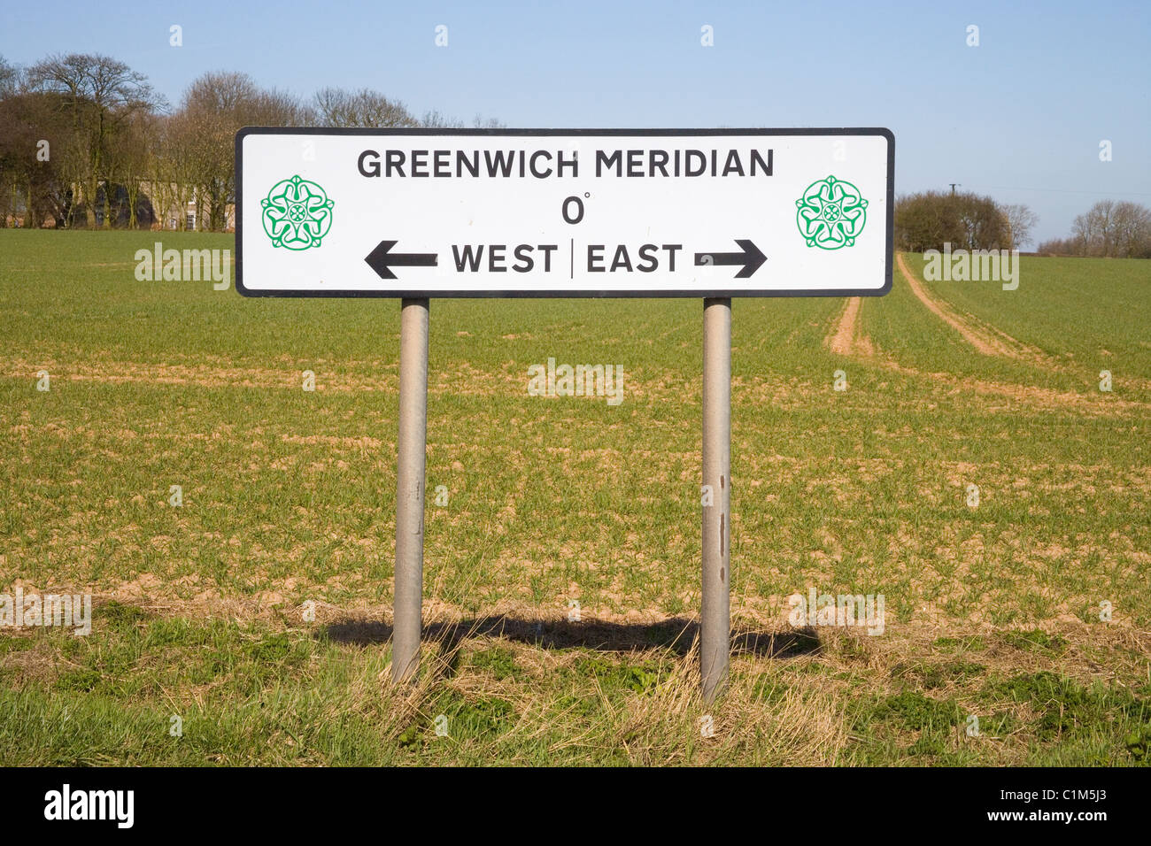 greenwich meridian sign in north yorkshire Stock Photo