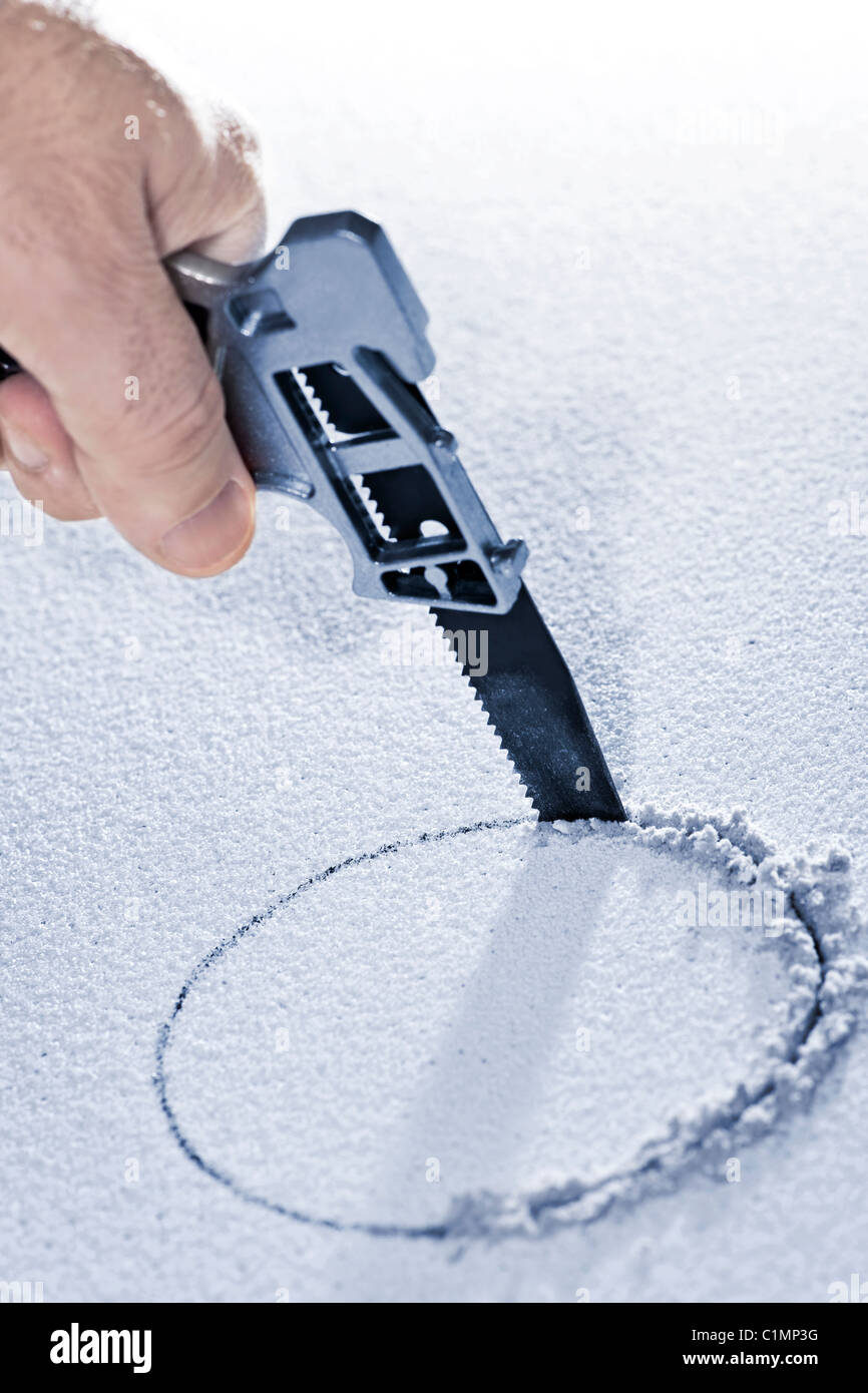 Handsaw Cutting Circular Hole In Ceiling Tile Stock Photo 35491780