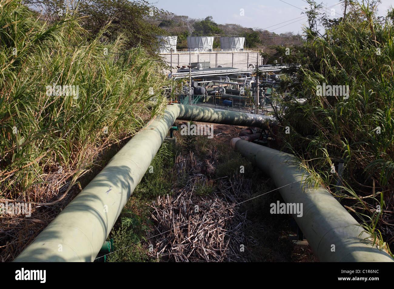 Geothermal power plant,  Miravalles, Costa Rica - Stock Image