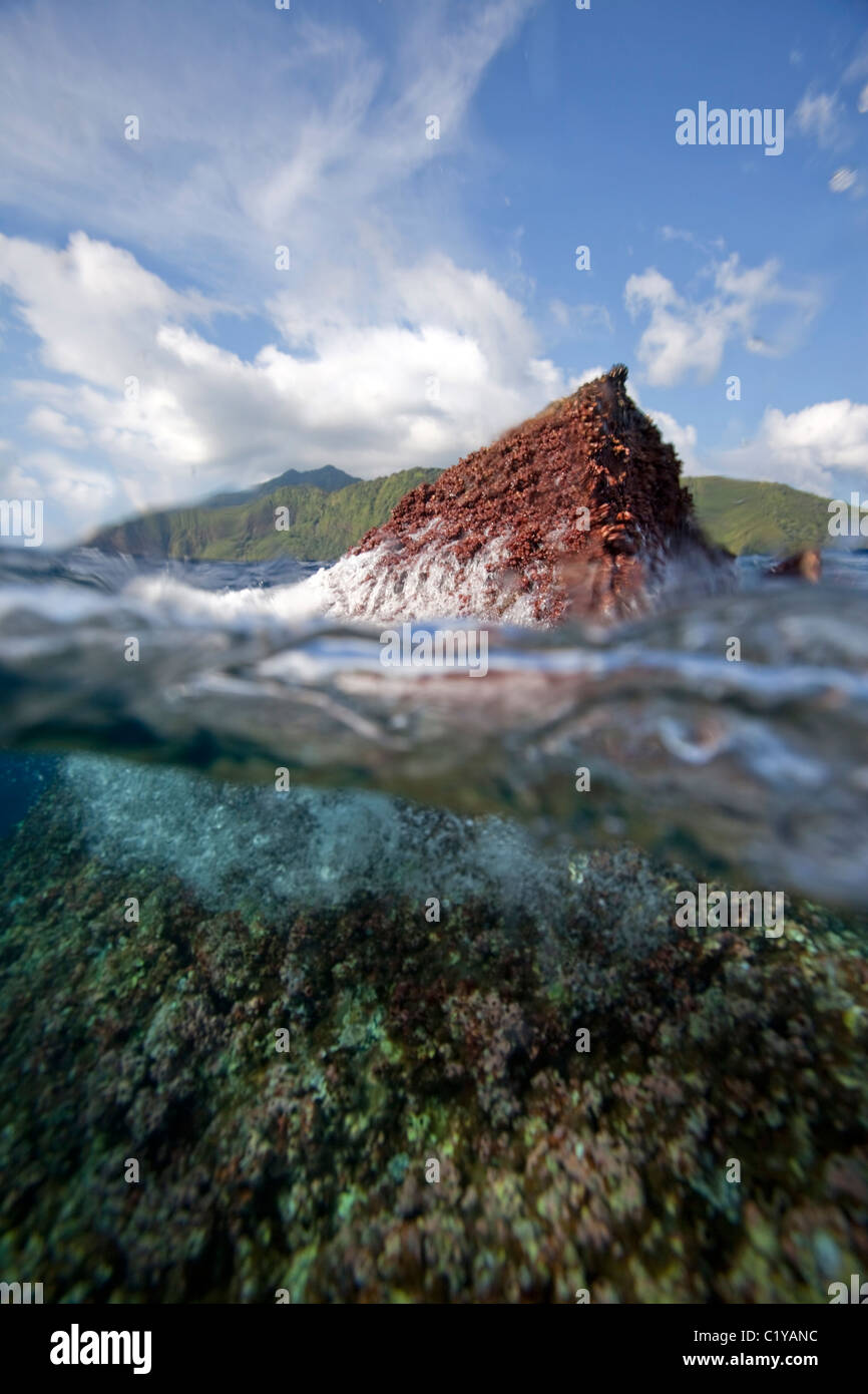 A split-water view of Shark Fin Rock, a popular scuba diving site of the Cocos Island, off the coast of Costa Rica. - Stock Image