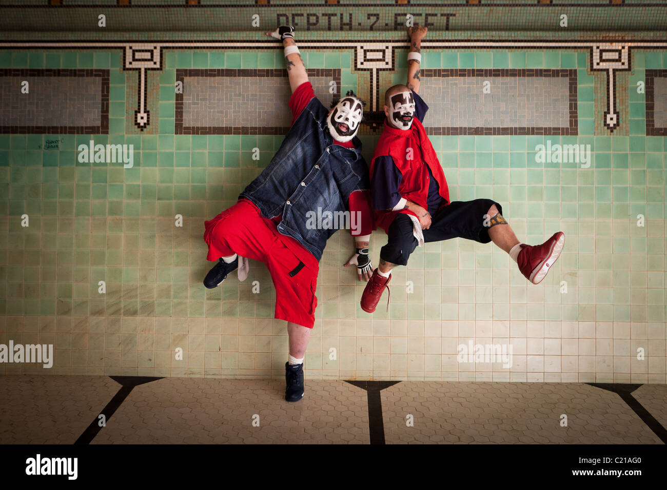 Violent J and Shaggy 2 Dope of Insane Clown Posse pose for pictures before a concert in Milwaukee, Wisconsin. - Stock Image