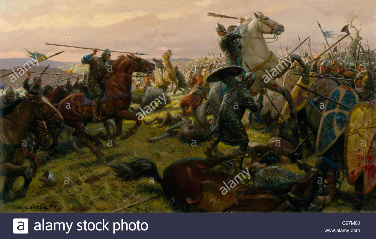 Oil painting of the Battle of Hastings. Stock Photo