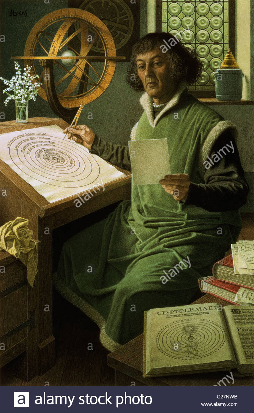 Copernicus theorised that the Earth was the center of the universe. Stock Photo