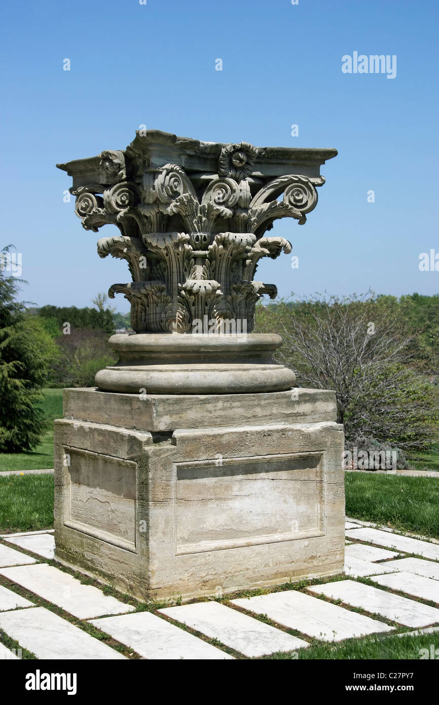 A closeup of a capital from an original sandstone column of the Capitol on display in the National Arboretum, Washington, - Stock Image