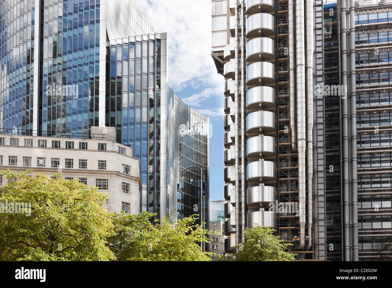 City of London buildings Lloyds building - Stock Image