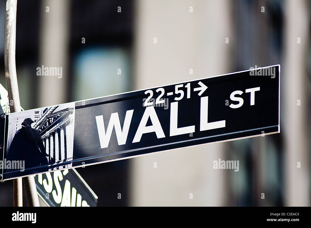 Wall Street road sing, Financial District, Lower Manhattan, New York City, USA - Stock Image