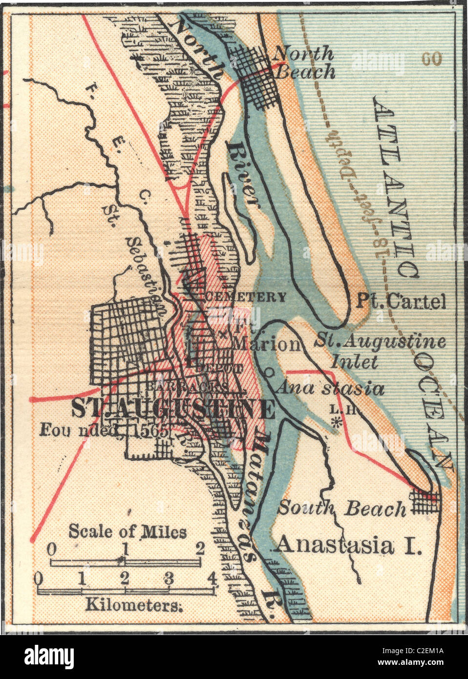 Map Of St Augustine Florida.Map Of St Augustine Florida Stock Photo 35973094 Alamy