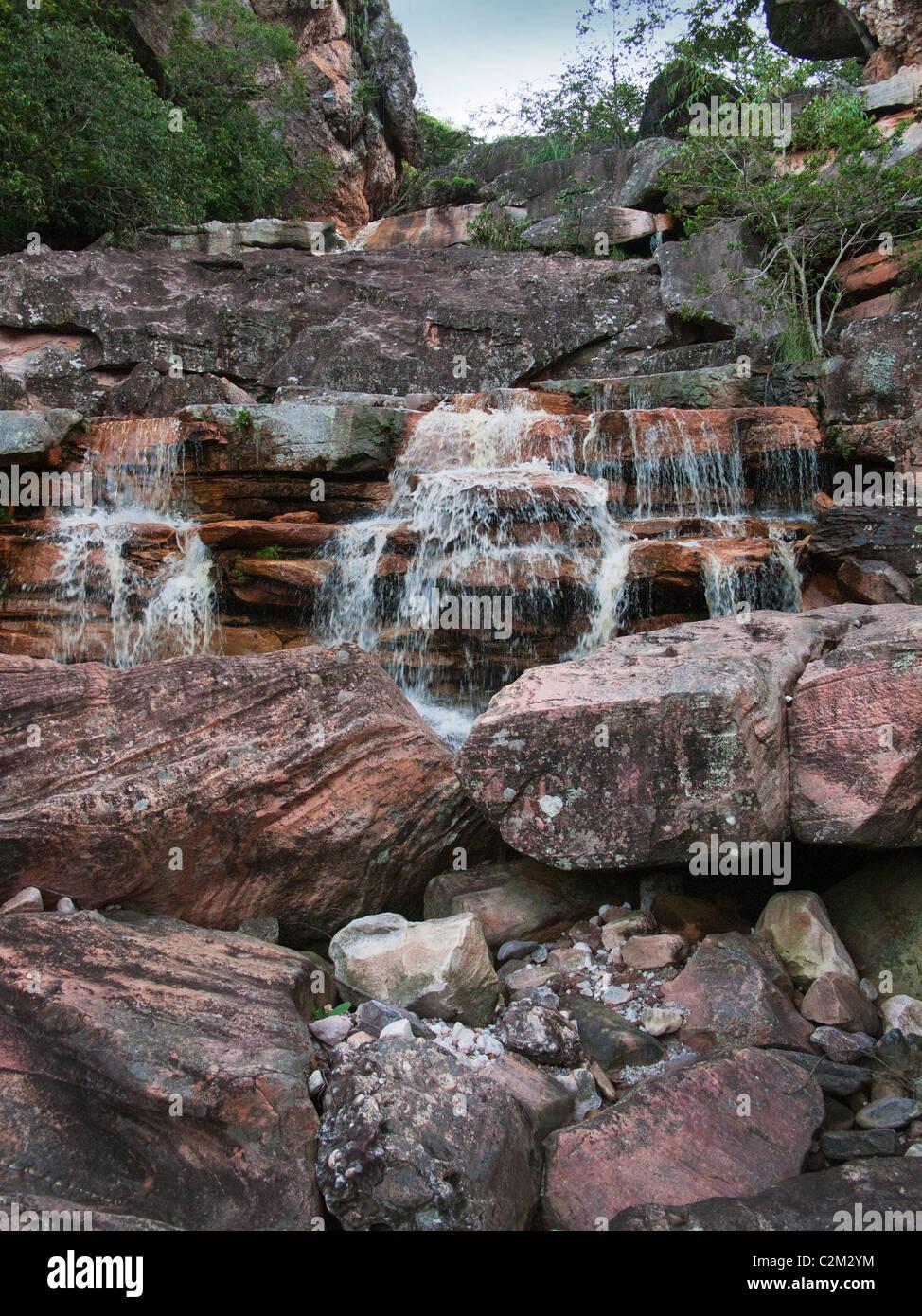 Small waterfalls in Chapada Diamantina, Bahia State, Brazil - Stock Image