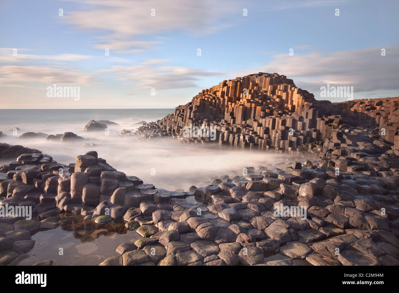 Giants causeway captured in the evening.Stock Photo