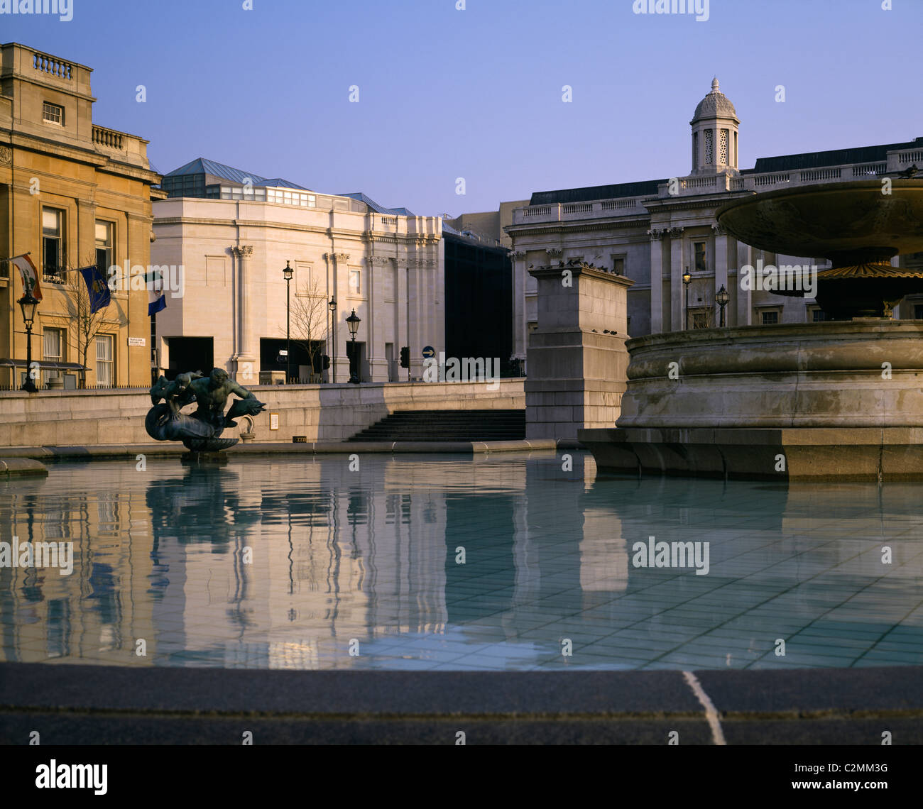 The National Gallery and Sainsbury Wing from Trafalgar Square. Stock Photo