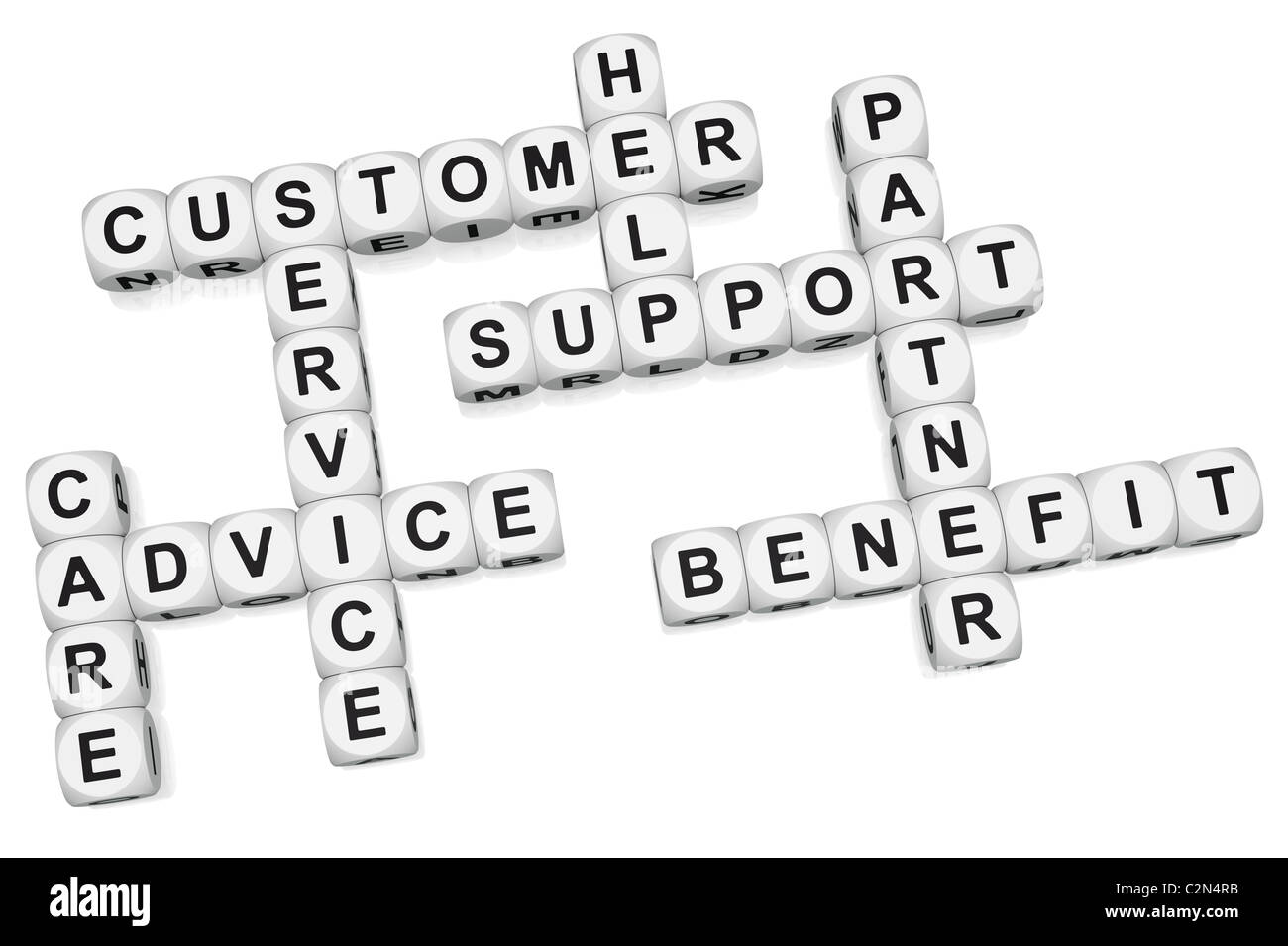 Customer benefit of quality service crossword on white background - Stock Image