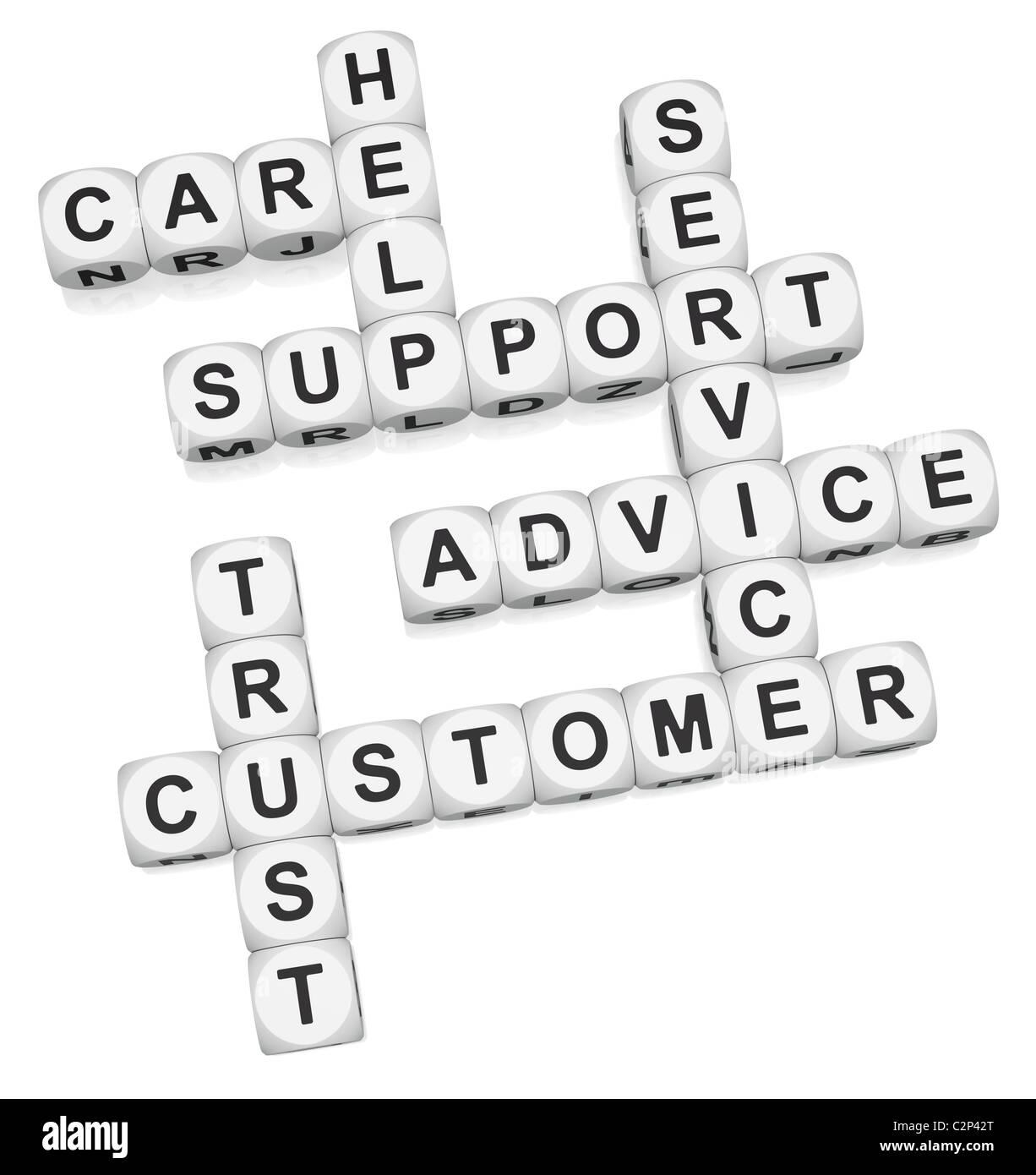 Customer trust crossword on white background - Stock Image