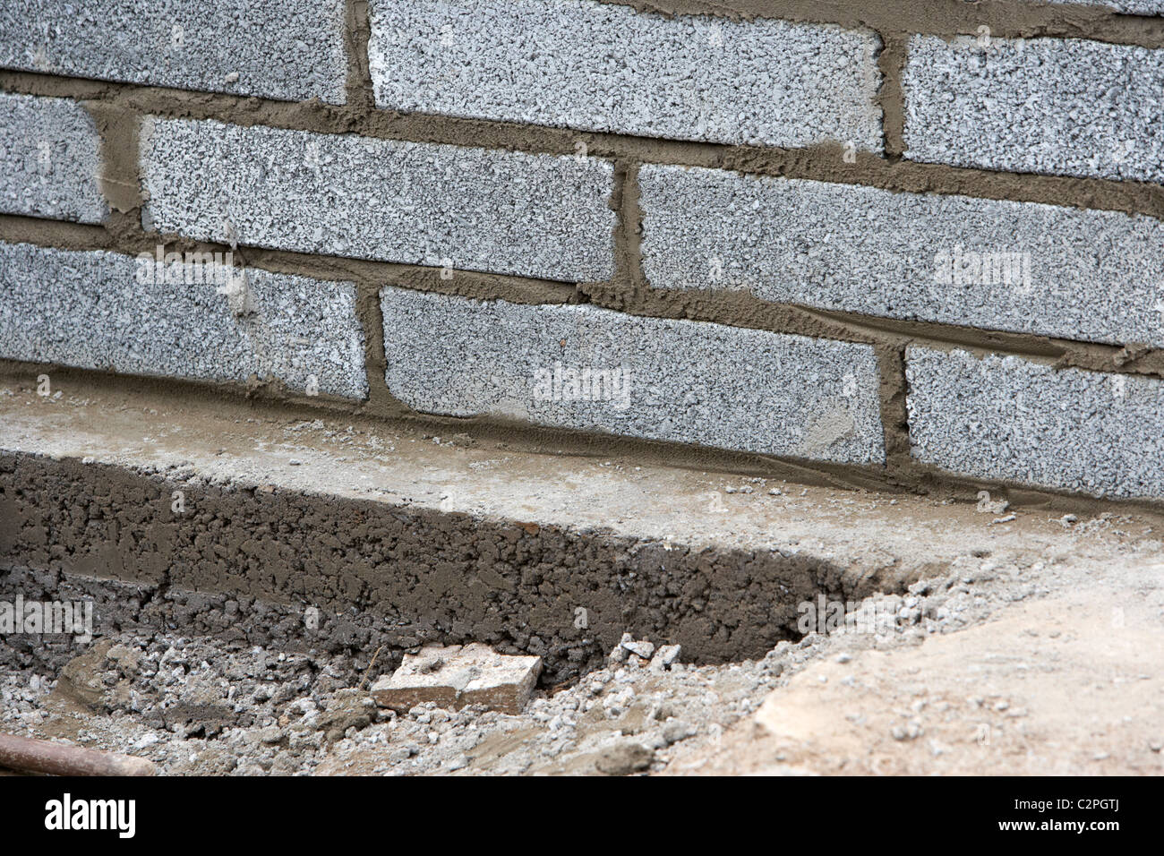 Charming Bricklaying Wall With Half Cement Breeze Blocks Building A Block Retaining  Wall On Concrete Foundations In