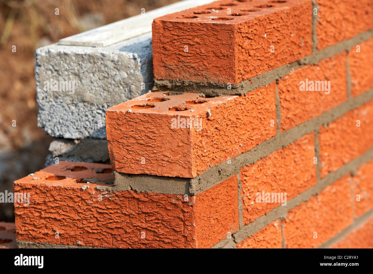 Great Bricklaying Wall Red House Bricks Facing Half Cement Breeze Blocks Building  A Block Retaining Wall In