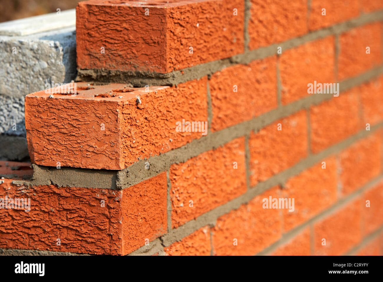 Bricklaying Wall Red House Bricks Facing Half Cement Breeze Blocks Building  A Block Retaining Wall In