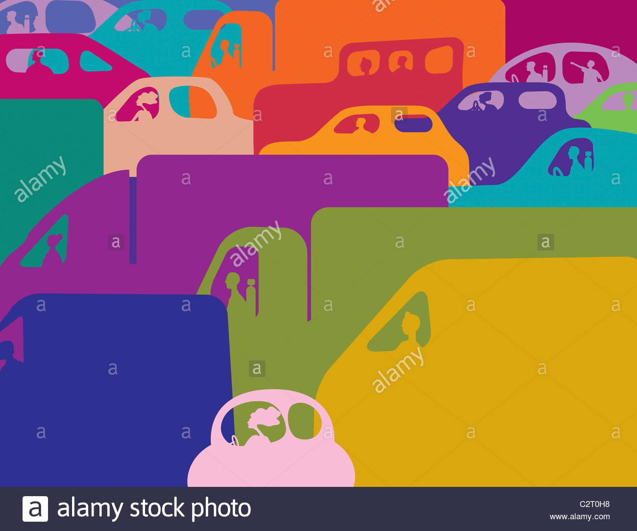 Colorful traffic jam of cars and trucks Stock Photo