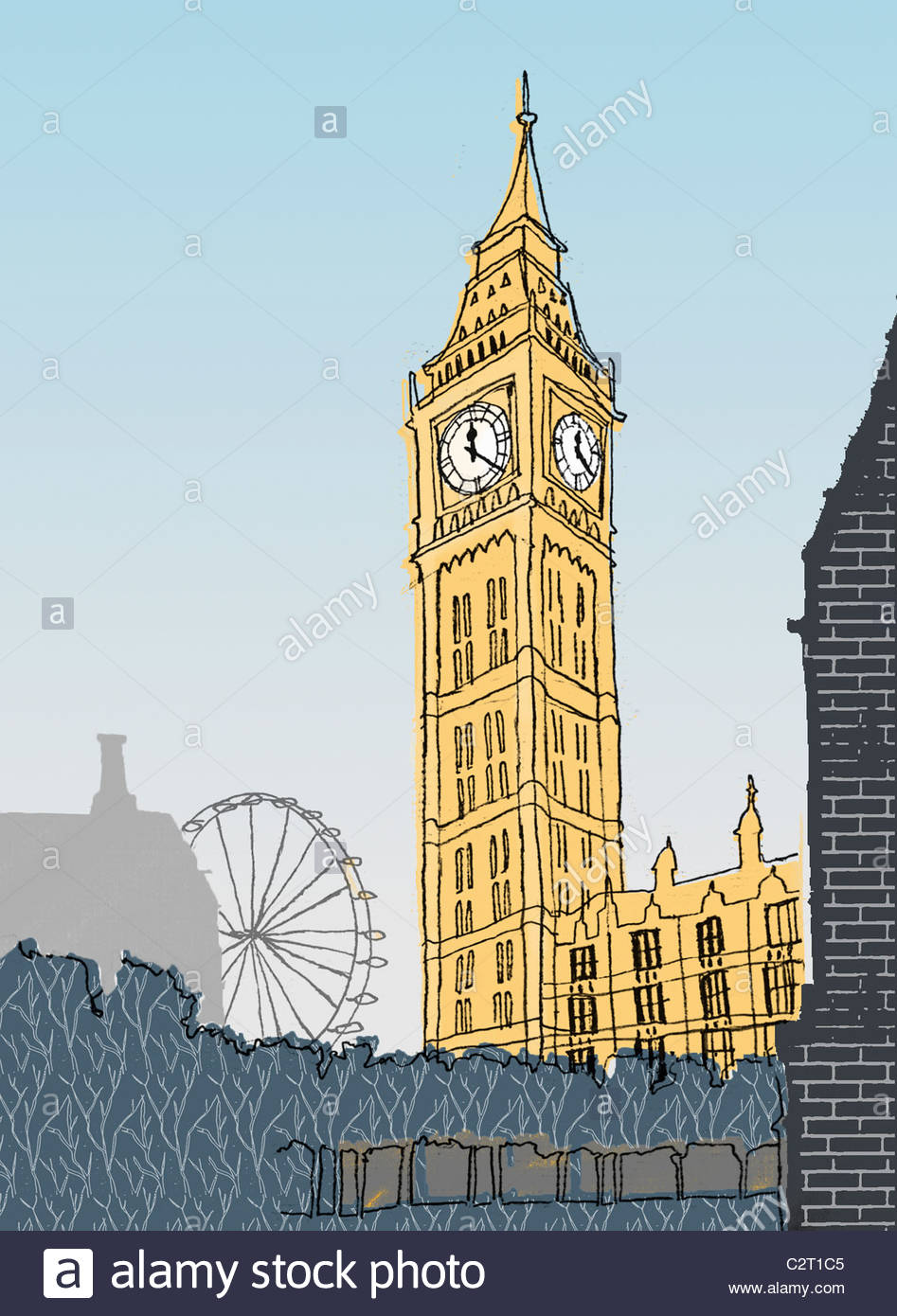 Big Ben, London Eye and Houses of Parliament Stock Photo