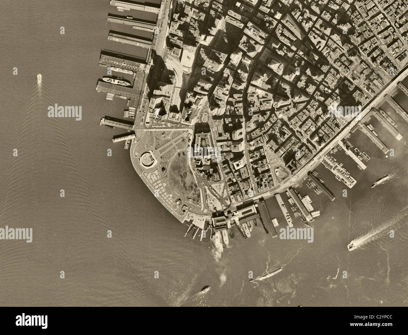 Map Of New York Downtown Manhattan.Historical Aerial Map View Above Battery Park Downtown Manhattan