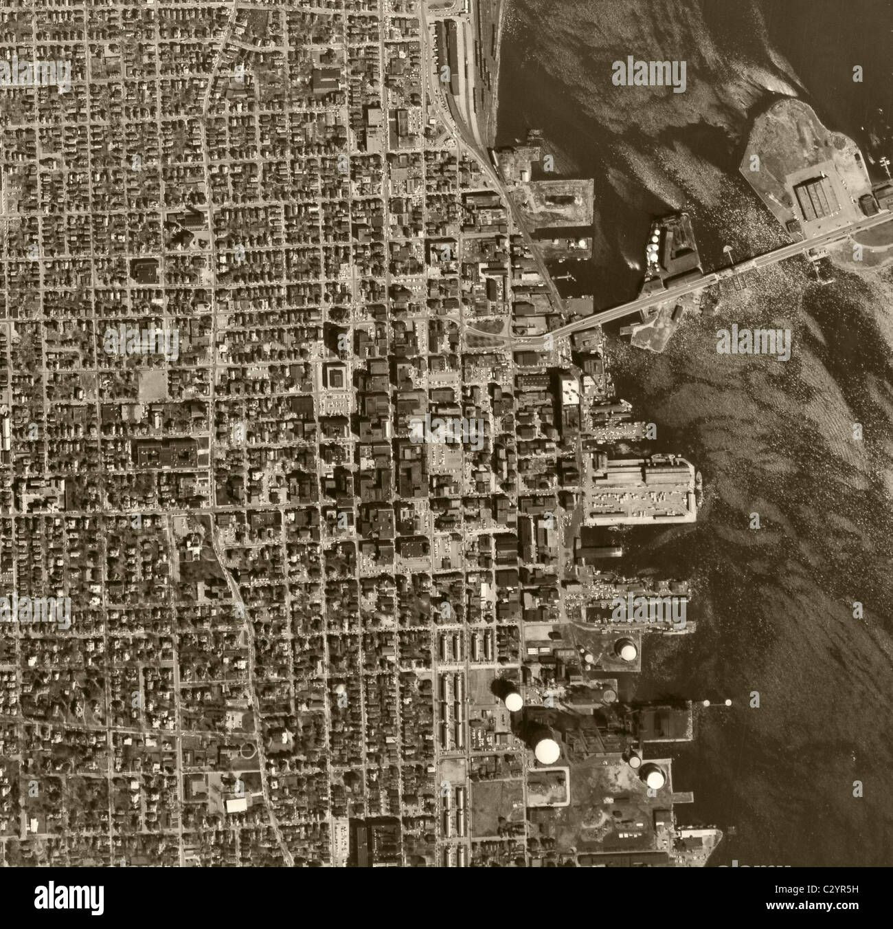 Historical Aerial Map View Above Chicago Illinois Stock Photo - Historical aerial maps