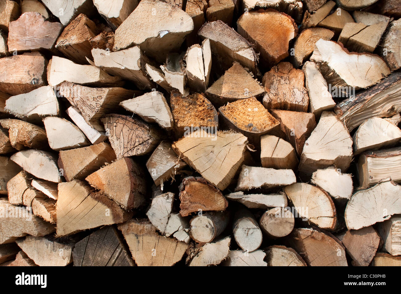 A pile/stack of logs drying out in the sun in rural Northumberland, England, UK. - Stock Image