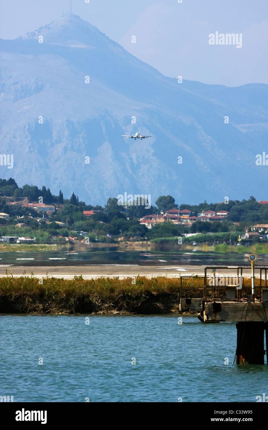 Airplane landing at Corfu, Ioannis Kapodistrias Airport, Greece Stock Photo