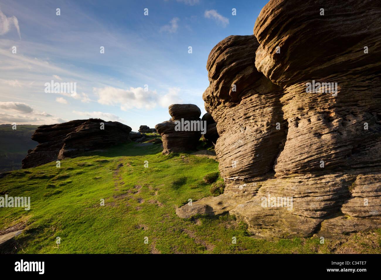 Gritstone rocks on Froggatt Edge Derbyshire Peak district national park England GB UK EU Europe - Stock Image