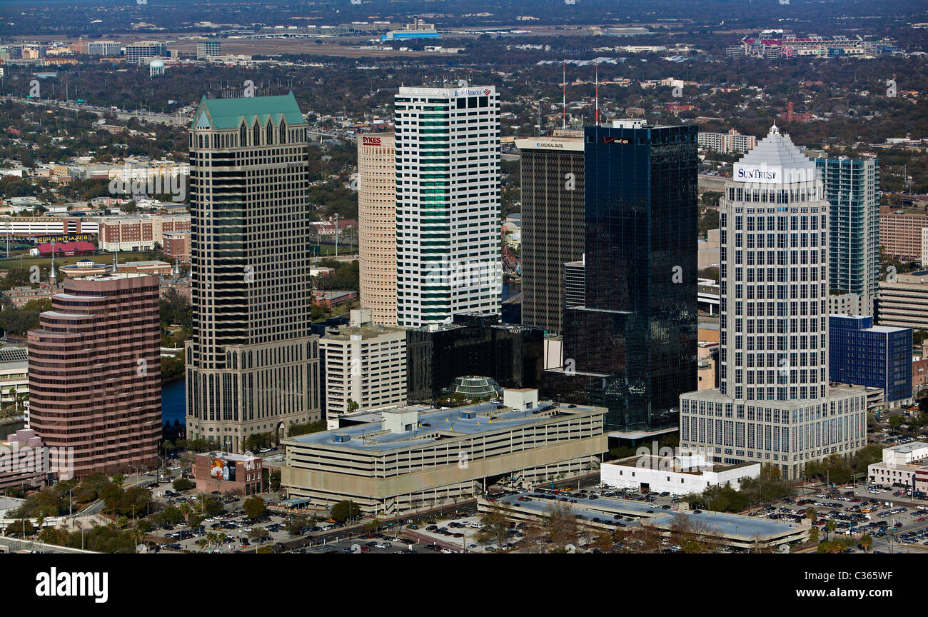 aerial view above Tampa high rise office towers including 100 North Tampa and Sun Trust Financial Center  Florida - Stock Image