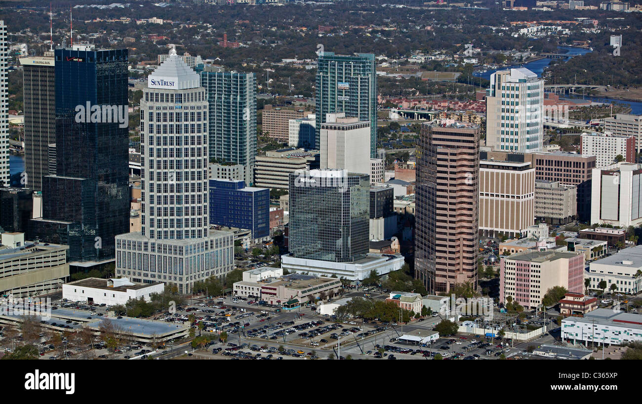 aerial view above Tampa high rise office towers including Sun Trust Financial Center and One Tampa City Center Florida - Stock Image