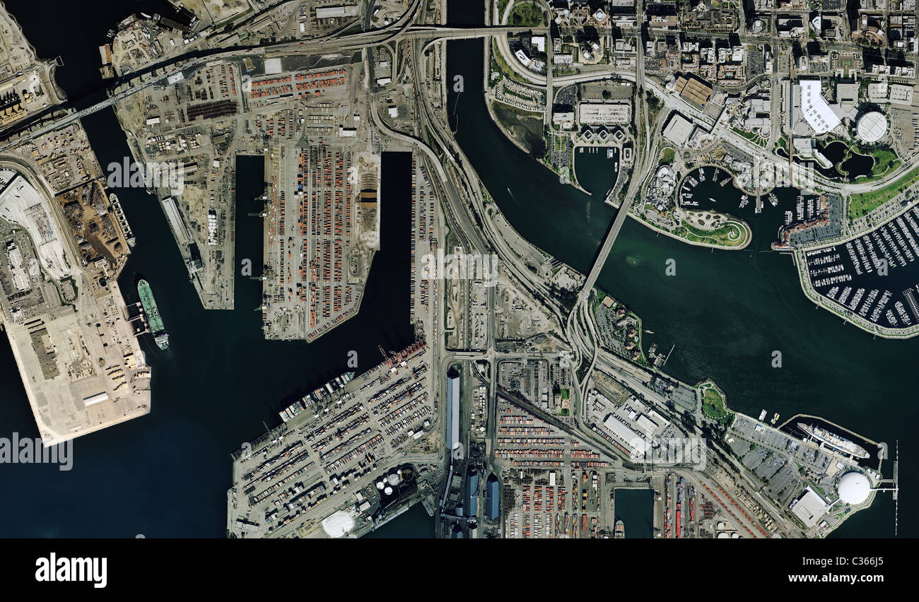 aerial map view Port of Long Beach California - Stock Image