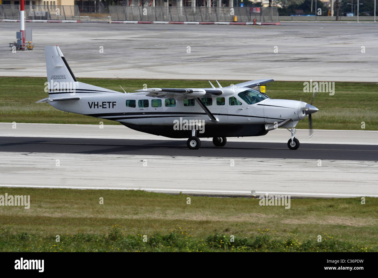 Cessna 208B Grand Caravan single-engine turboprop commuter aircraft taxiing for departure from Malta - Stock Image