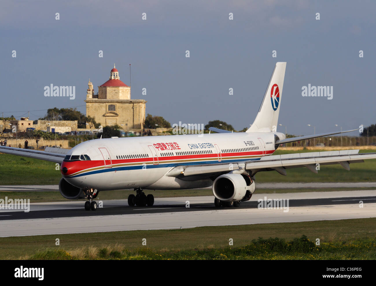 China Eastern Airlines Airbus A330-300 arriving in Malta to repatriate Chinese evacuees from Libya, 27 February - Stock Image