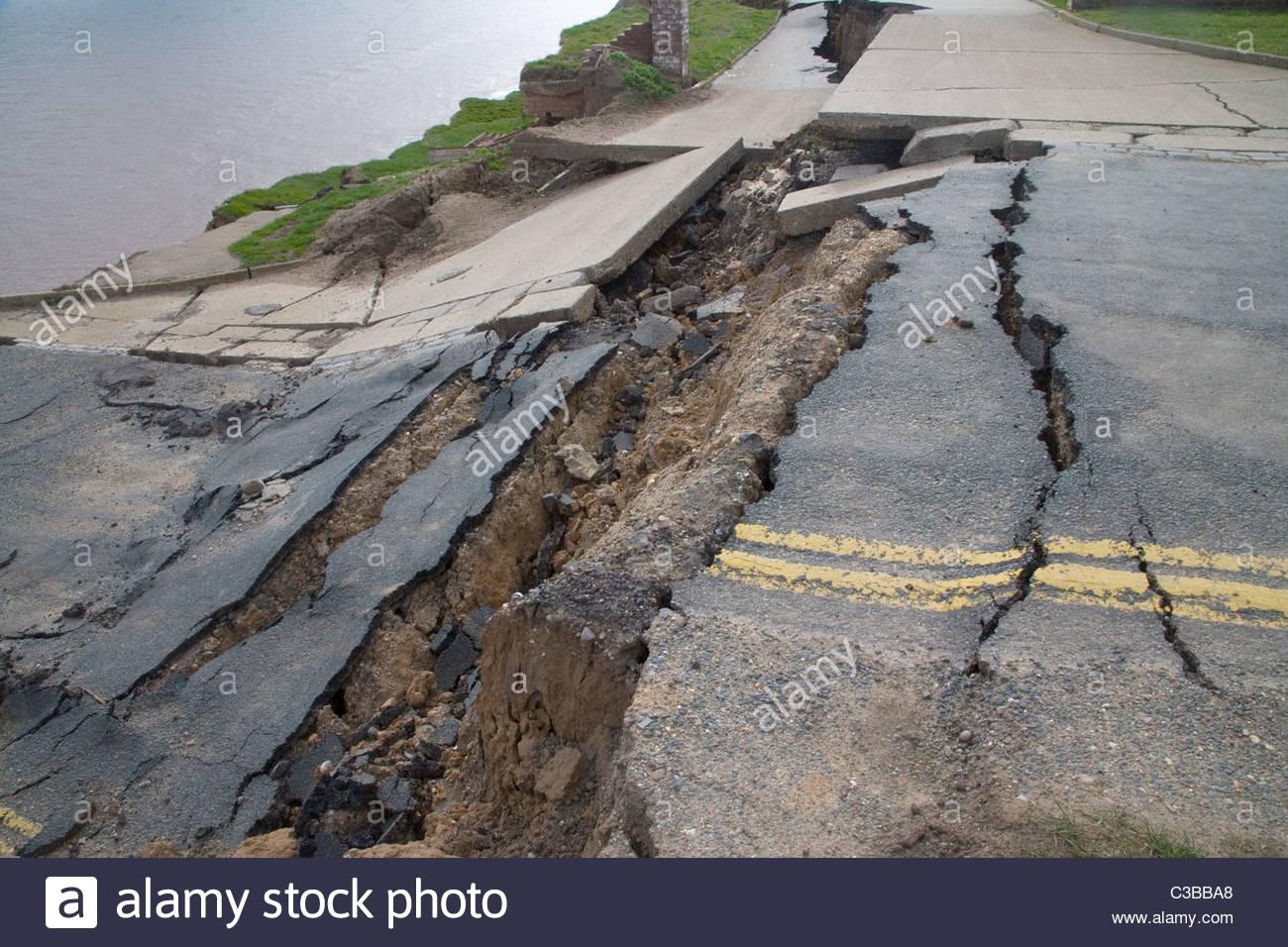 coastal erosion on the yorkshire coast at aldborough Stock Photo