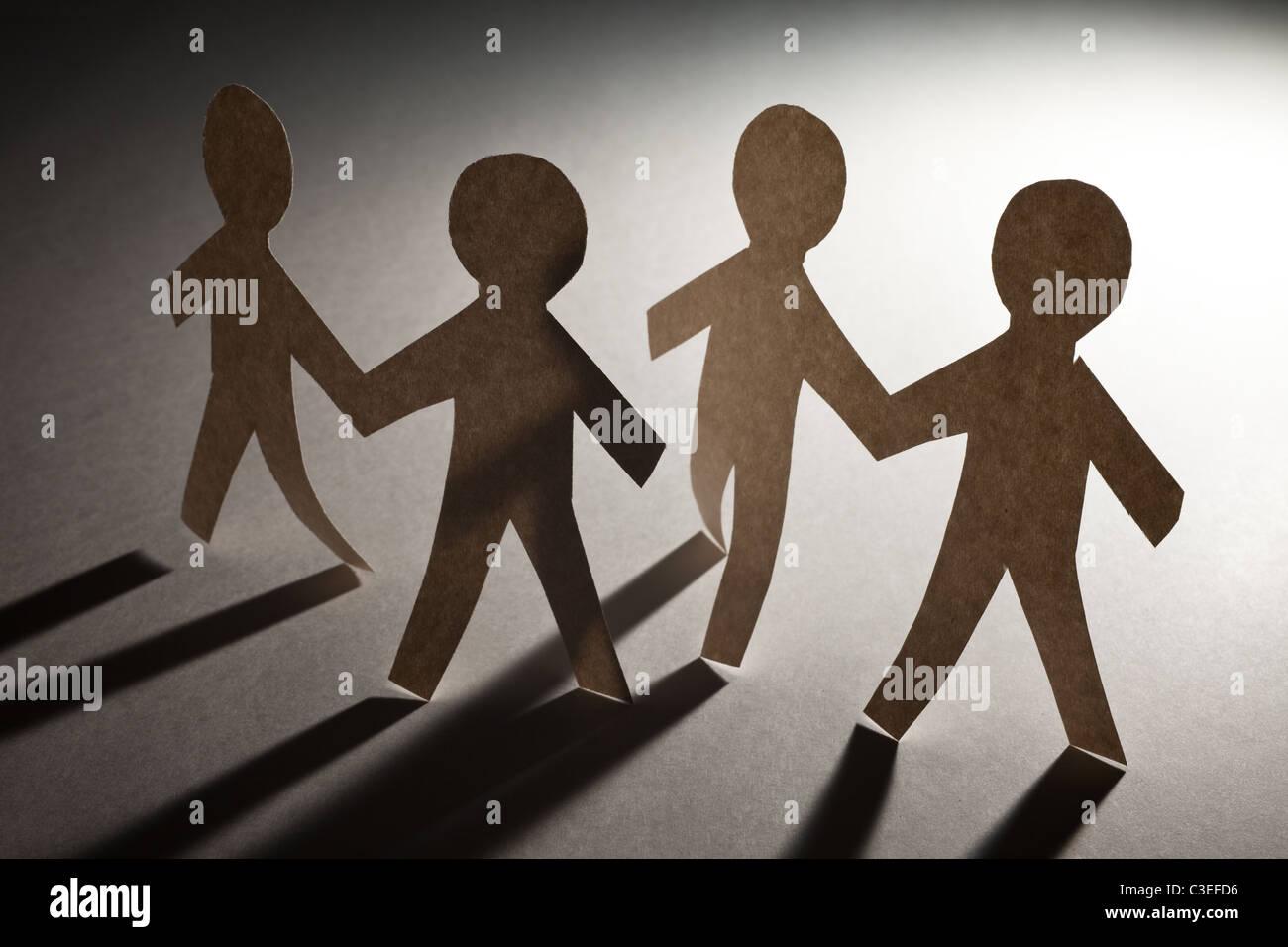 Paper Chain Men, concept of Teamwork - Stock Image