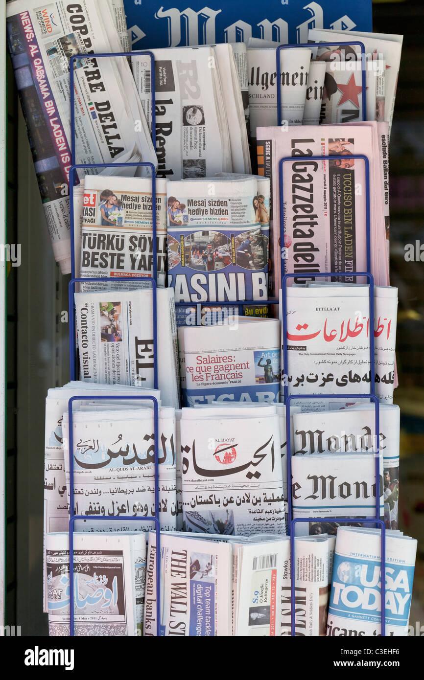 International newspaper stand, England - Stock Image