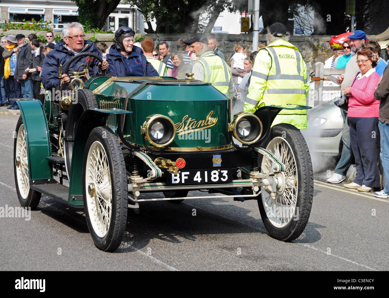 A Vintage Stanley Steam Car In The Annual Trevithick Day Steam Parade At Camborne In Cornwall Uk
