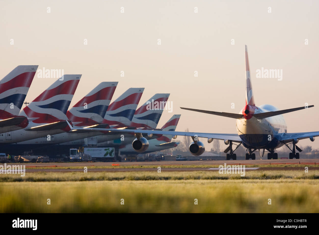 Fleet of British Airways airliners at London Heathrow Airport UK Stock Photo