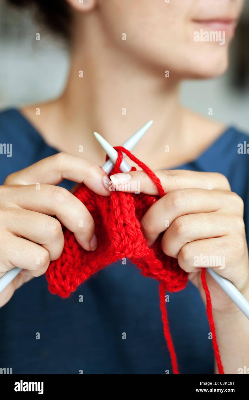 Woman knitting, close-up Stock Photo