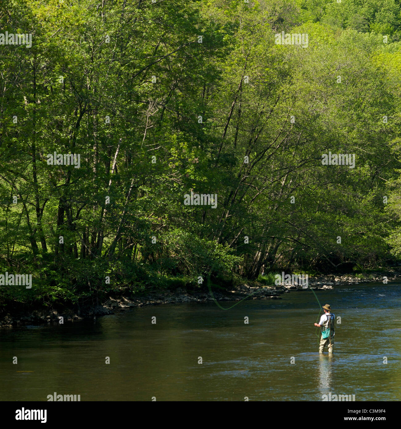 Man angling in a river in Auvergne. France. - Stock Image